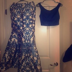 Blue and white 2 piece Prom dress. No alterations.